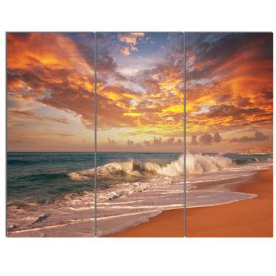 Design Art Waves Under Colorful Clouds Seashore Canvas Print - 3 Panels