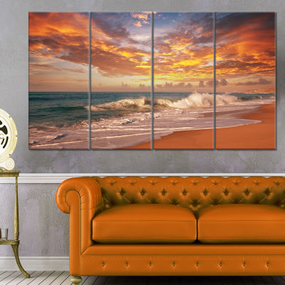 Design Art Waves Under Colorful Clouds Seashore Canvas Print - 4 Panels