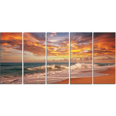 Designart Waves Under Colorful Clouds Seashore Canvas Print - 5 Panels