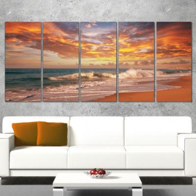 Designart Waves Under Colorful Clouds Seashore Canvas Print - 5 Panels
