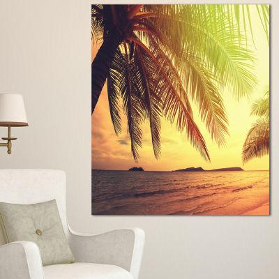 Designart Tropical Beach With Green Palm SeashoreCanvas Print