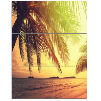 Designart Tropical Beach With Green Palm SeashoreCanvas Print - 3 Panels