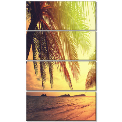 Design Art Tropical Beach With Green Palm SeashoreCanvas Print - 4 Panels