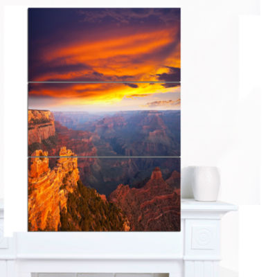 Designart Colorful Grand Canyon At Sunset Landscape Canvas Art - 3 Panels