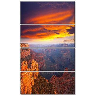 Designart Colorful Grand Canyon At Sunset Landscape Canvas Art - 4 Panels