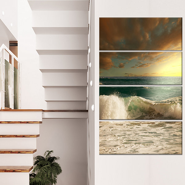 Design Art Rushing Waves Under Heavy Clouds BeachPhoto Canvas Print - 4 Panels