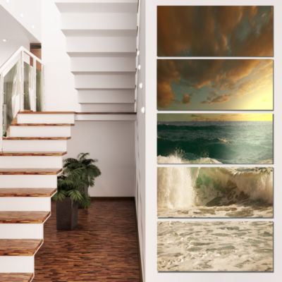 Design Art Rushing Waves Under Heavy Clouds BeachPhoto Canvas Print - 5 Panels
