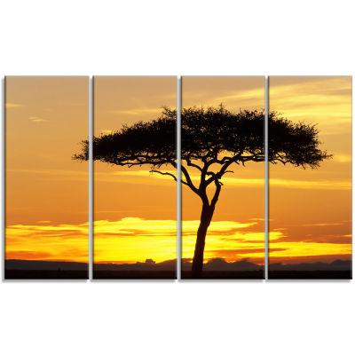 Designart Beautiful Sunset Through Acacia Tree African Landscape Canvas Art Print - 4 Panels