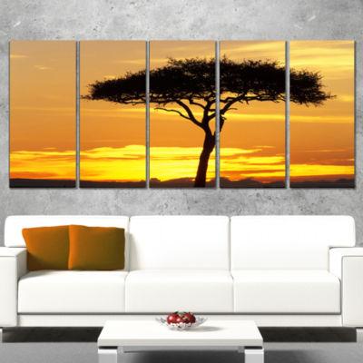 Designart Beautiful Sunset Through Acacia Tree African Landscape Canvas Art Print - 5 Panels