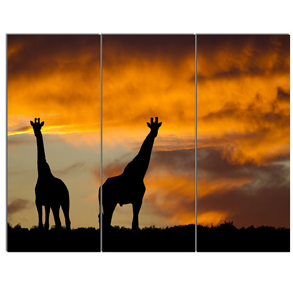 Design Art African Wildlife Silhouette Canvas ArtPrint - 3 Panels