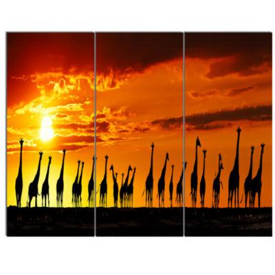 Designart African Giraffes Sunset Silhouette Canvas Art Print - 3 Panels