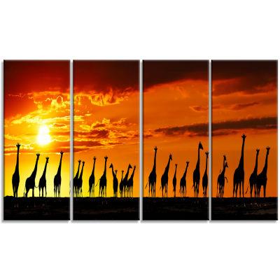Designart African Giraffes Sunset Silhouette Canvas Art Print - 4 Panels