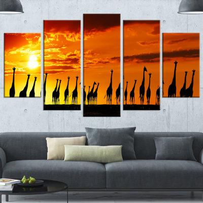 Designart African Giraffes Sunset Silhouette Canvas Art Print - 5 Panels