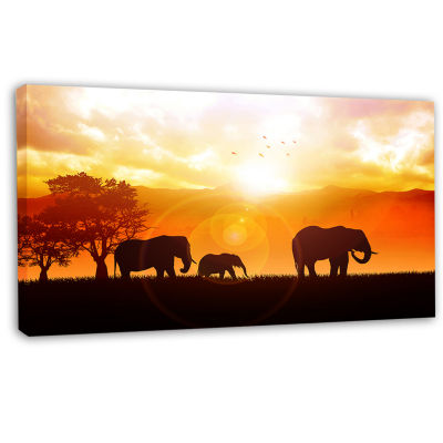 Design Art Elephants Walking At Sunset African Canvas Art Print