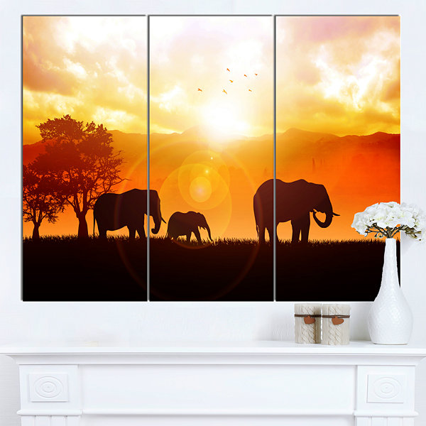Design Art Elephants Walking At Sunset African Canvas Art Print - 3 Panels