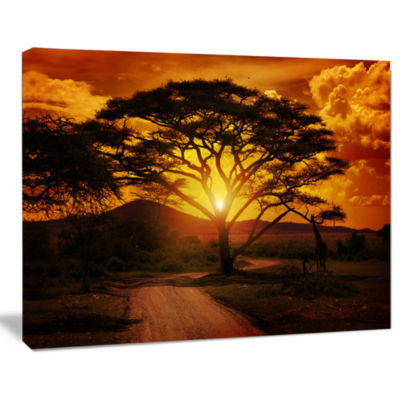 Design Art African Sunset With Lonely Tree Landscape Canvas Art Print