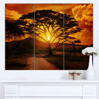 Designart African Sunset With Lonely Tree Landscape Canvas Art Print - 3 Panels