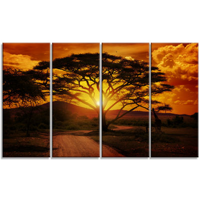 Designart African Sunset With Lonely Tree Landscape Canvas Art Print - 4 Panels