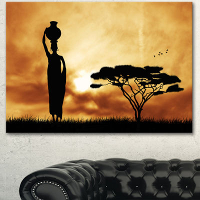 Design art African Woman And Lonely Tree Landscape Canvas Art Print