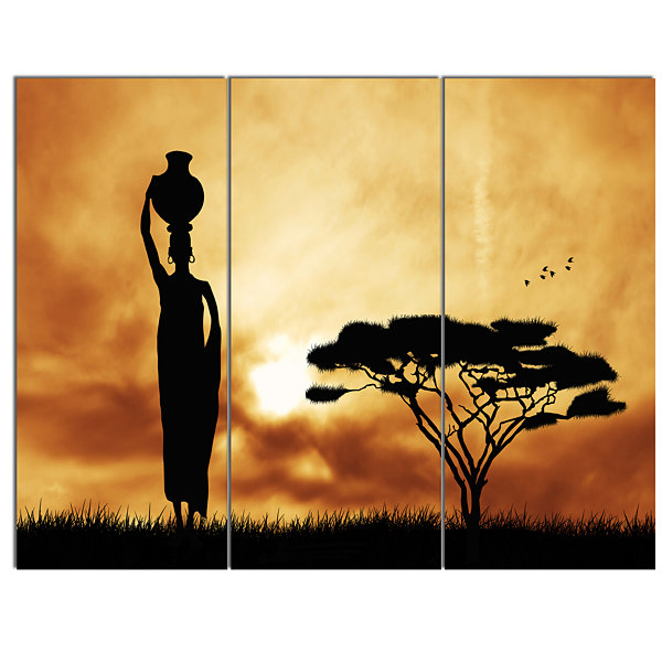 Design Art African Woman And Lonely Tree LandscapeCanvas Art Print - 3 Panels