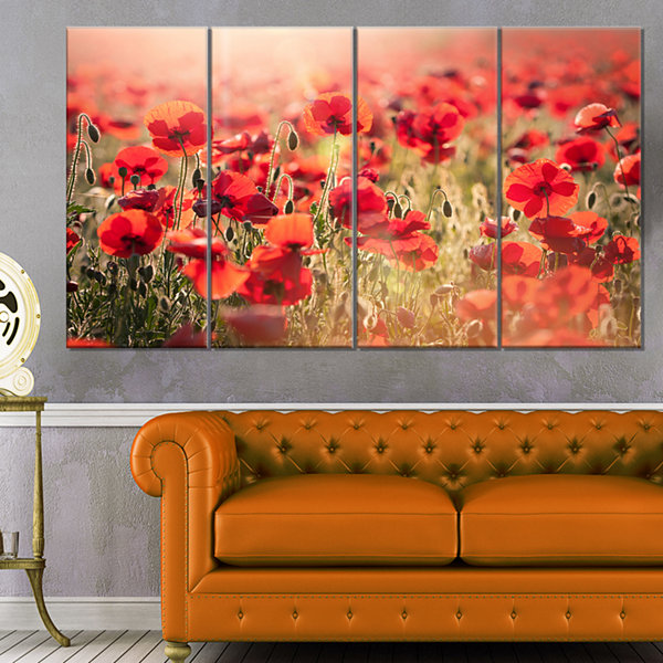 Design Art Beautiful Tuscan Red Poppies Floral Canvas Art Print - 4 Panels