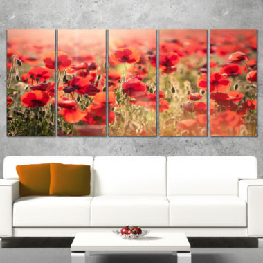 Design Art Beautiful Tuscan Red Poppies Floral Canvas Art Print - 5 Panels