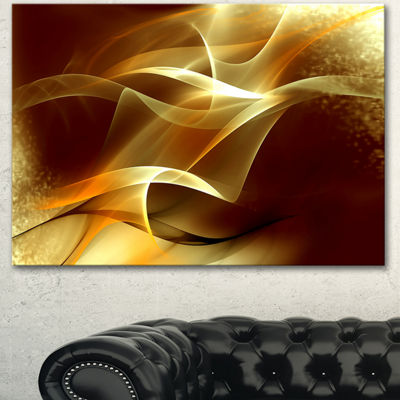 Designart Light Yellow Abstract Fractal Design Canvas Art
