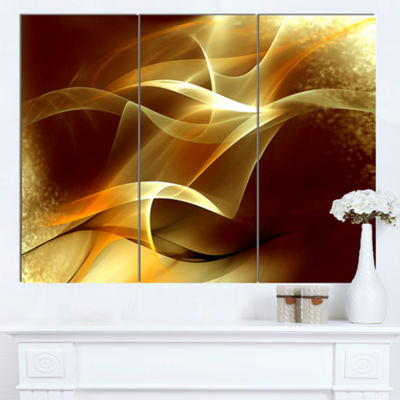Designart Light Yellow Abstract Fractal Design Canvas Art - 3 Panels