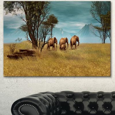 Design Art African Elephants Panorama Canvas Art Print