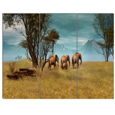 Designart African Elephants Panorama Canvas Art Print - 3 Panels