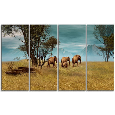 Designart African Elephants Panorama Canvas Art Print - 4 Panels
