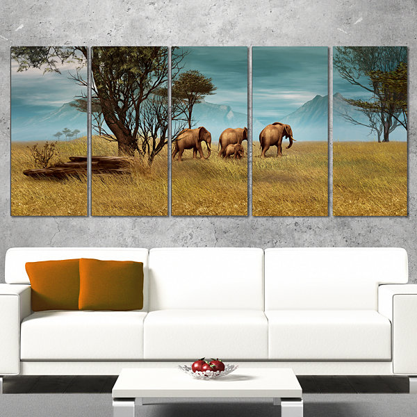 Designart African Elephants Panorama Canvas Art Print - 5 Panels