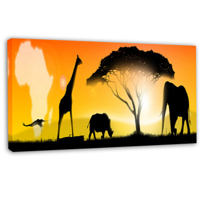 Designart African Wildlife Panorama Canvas Art Print