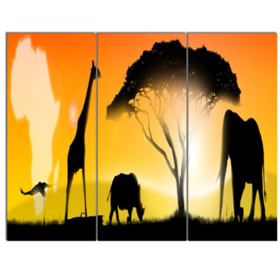 Designart African Wildlife Panorama Canvas Art Print - 3 Panels