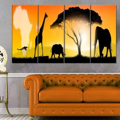 Designart African Wildlife Panorama Canvas Art Print - 4 Panels