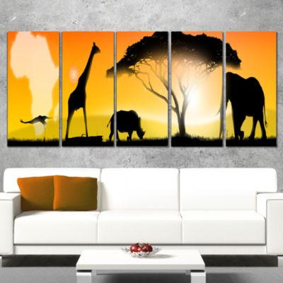 Designart African Wildlife Panorama Canvas Art Print - 5 Panels