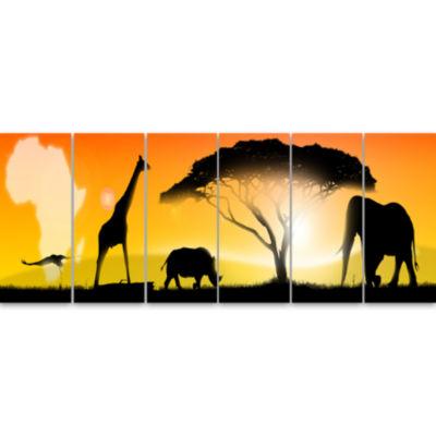 Designart African Wildlife Panorama Canvas Art Print - 6 Panels