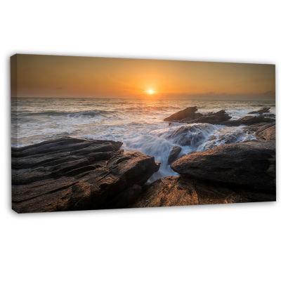 Designart Sunset Over Rocky Seashore Beach Photo Canvas Print