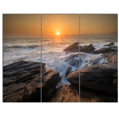 Designart Sunset Over Rocky Seashore Beach Photo Canvas Print - 3 Panels