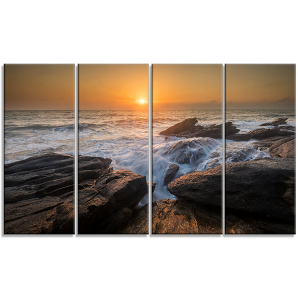 Design Art Sunset Over Rocky Seashore Beach PhotoCanvas Print - 4 Panels