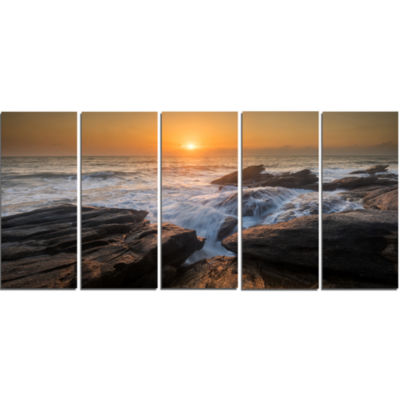 Designart Sunset Over Rocky Seashore Beach Photo Canvas Print - 5 Panels