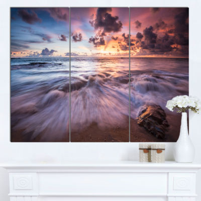 Designart Beautiful Sea Waves At Sunset Beach Photo Canvas Print - 3 Panels