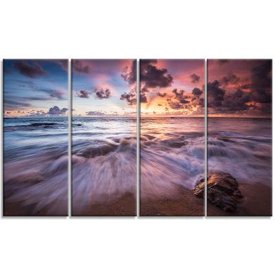 Designart Beautiful Sea Waves At Sunset Beach Photo Canvas Print - 4 Panels