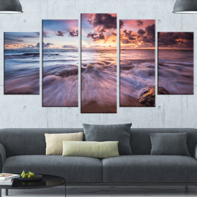 Design Art Beautiful Sea Waves At Sunset Beach Photo Canvas Print - 5 Panels