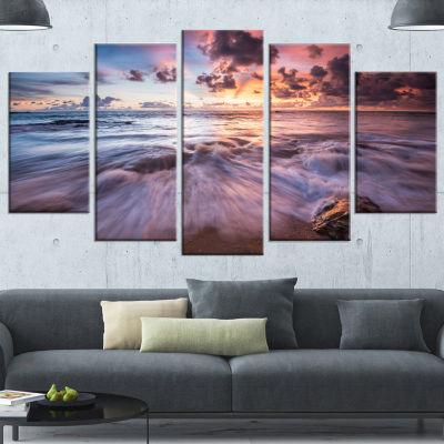Designart Beautiful Sea Waves At Sunset Beach Photo Canvas Print - 5 Panels