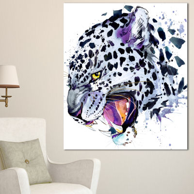 Designart Ferocious Snow Leopard Face Animal Canvas Art Print