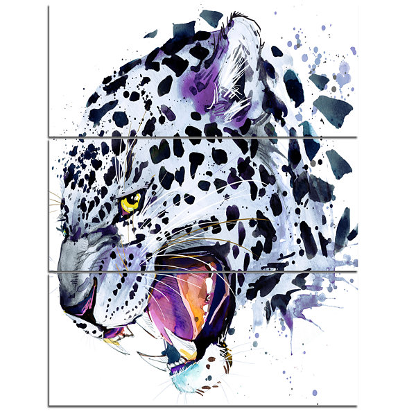 Designart Ferocious Snow Leopard Face Animal Canvas Art Print - 3 Panels