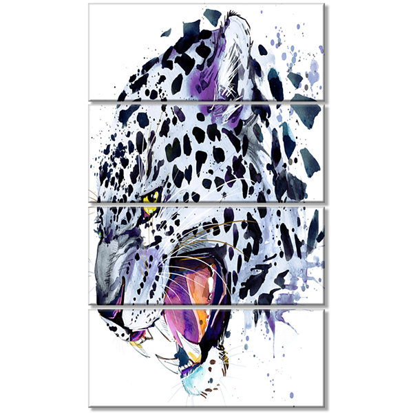 Designart Ferocious Snow Leopard Face Animal Canvas Art Print - 4 Panels