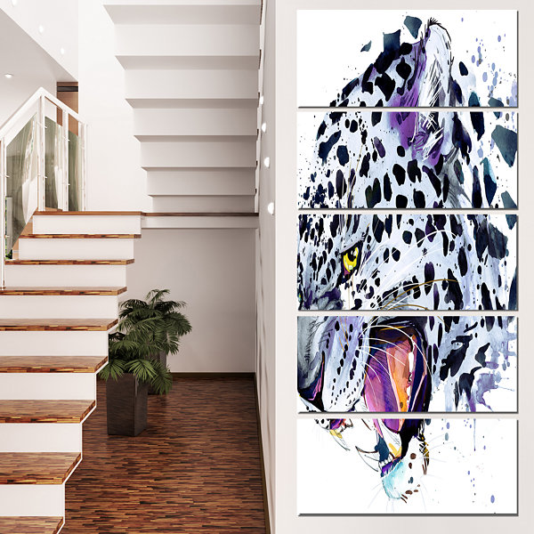 Design Art Ferocious Snow Leopard Face Animal Canvas Art Print - 5 Panels