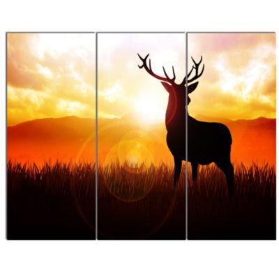 Designart Deer On Meadow During Sunrise Animal Canvas Art Print - 3 Panels